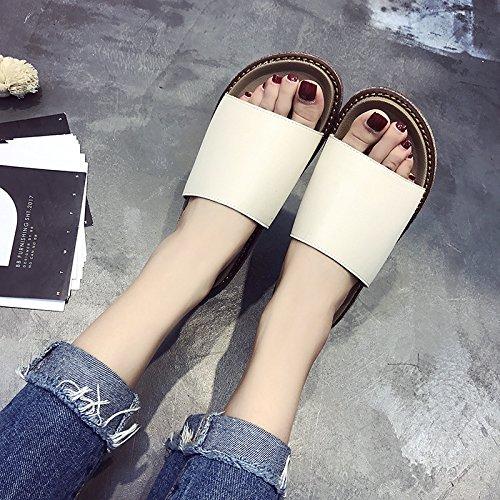 RUGAI-UE Las mujeres zapatillas zapatillas inferior grueso calzado de playa plana Beige