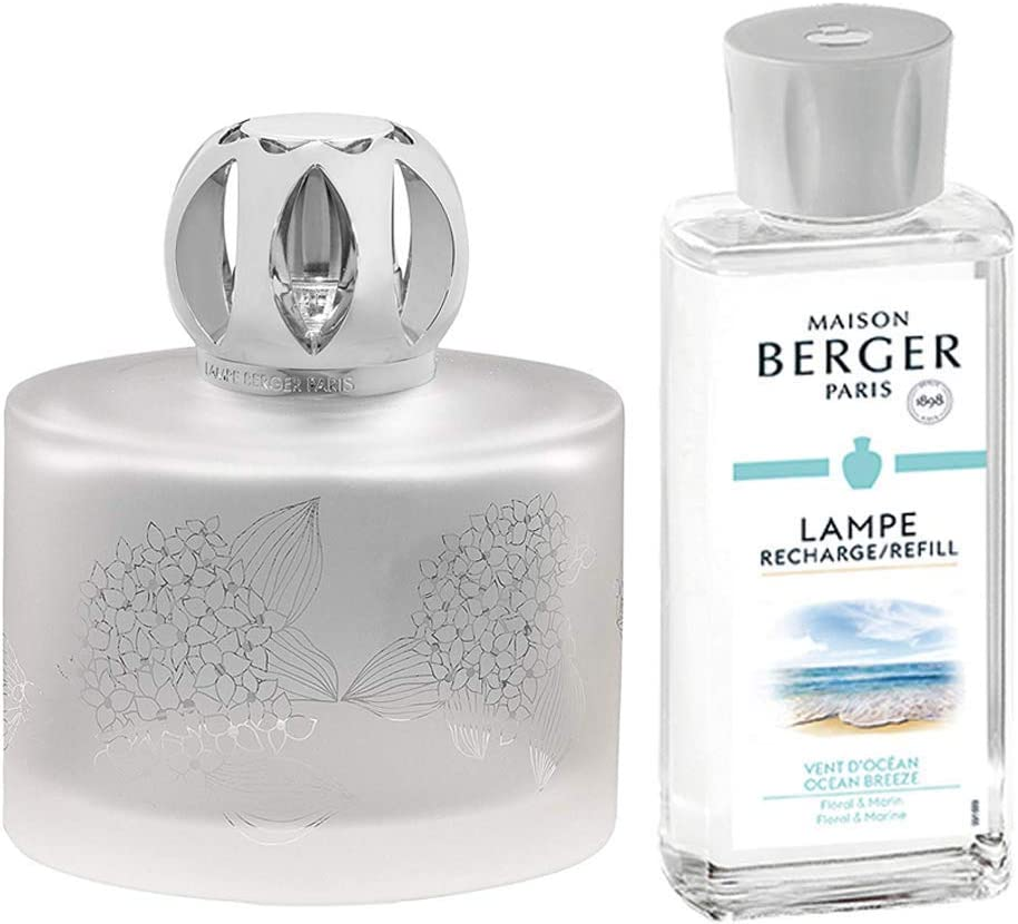 4 x 2.5 x 5.1 inches Home Fragrance Diffuser Frosted Includes Fragrance Ocean Breeze 180 milliliters 6.08 Fluid Ounces Model Floralie Lampe Berger Giftset