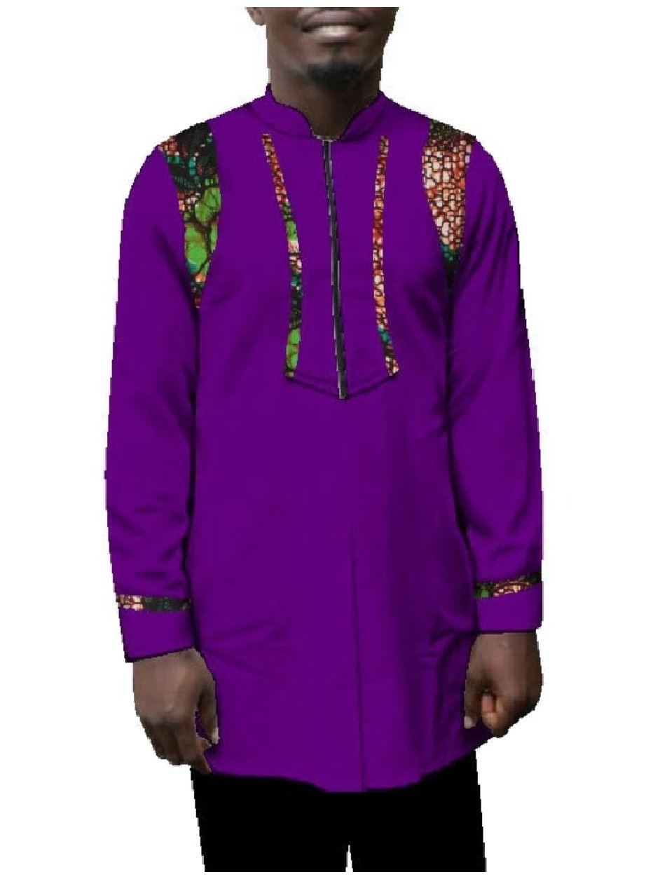Zimaes Mens Dashiki Fine Cotton Relaxed Plus Size African Tees Top 4 5XL by Zimaes-Men (Image #1)
