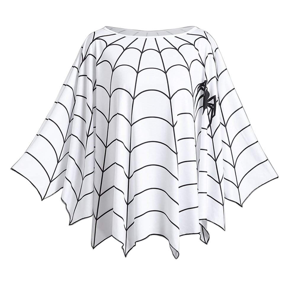 KENANCY Women Plus Size Halloween Costume Blouse Spider Web Print Poncho Tops