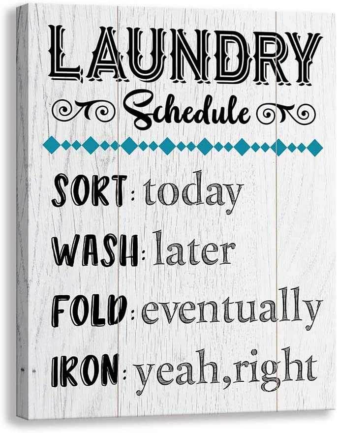 Vintage Laundry Room Canvas Wall Art | Laundry Schedule Funny Rules Prints Signs Framed | Bathroom Laundry Room Decor (15 X 12 inch, Launday)