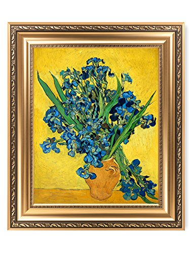 DECORARTS Irises Vase Flower, Vincent Van Gogh Art Reproduction. Giclee Print& Framed Art for Wall Decor. Picture Size: 20x16, Framed Size: 26x22