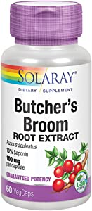 Solaray Butchers Broom Root Extract 100 mg | Plus 150 mg Whole Root | Healthy Circulation & Blood Vessel Integrity Support | Non-GMO | 60 VegCaps