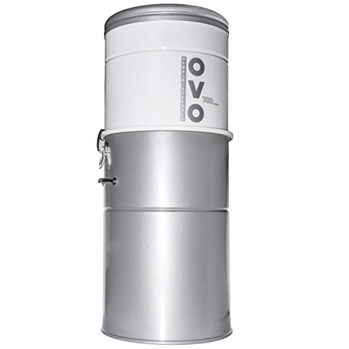 OVO Heavy Duty Powerful Central Vacuum System, Hybrid Filtration with or Without Disposable Bags 35L or 9.25Gal, 700 Air watts, Large Vac, White Silver