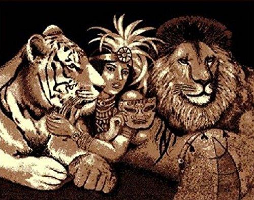 5 X 8 Lion Tiger Queen Of The Jungle African Safari Area Ru