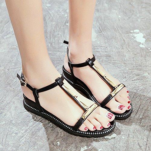 Antideslizante Moda Confortables Dedos Fondo white Playa de Calzado Plano Señoras Sandalias Verano Simple de YMFIE qwtnpAvaWp