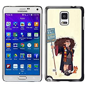 Shell-Star Arte & diseño plástico duro Fundas Cover Cubre Hard Case Cover para Samsung Galaxy Note 4 IV / SM-N910F / SM-N910K / SM-N910C / SM-N910W8 / SM-N910U / SM-N910G ( Wizard Witch Girl Art Drawing Cat Painting )