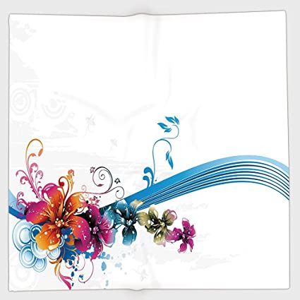 Cotton Microfiber Hand Towel Floral Abstract Fantasy