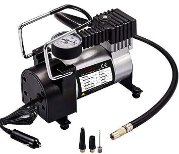 Amazon.es: Viotte Bomba de Aire para Coche, inflador de neumáticos de 12 V CC, compresor de Aire portátil con medidor de presión 100 PSI y Adaptador para ...