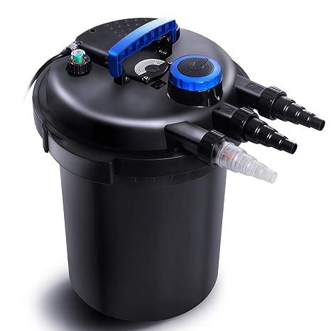 COSTWAY Filtre de Bassin Kit de Filtration pour Bassin Débit Maximum 10000L  / h Volume du Corps du Filtre 25L Entrée d\'eau: 20-32-38mm Noir