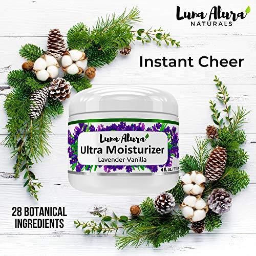 Luna Alura Naturals Face Moisturizer – Ultra Hydrating Organic Skin Care – Made in the USA – Natural Lavender Vanilla Scent (Large 4 oz)