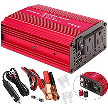Power Inverter 400W DEFLAM DC 12V to 110V AC Car Inverter Outlets with 4.8A Dual USB Ports Charger Travel Kit Portable Converter for Laptop