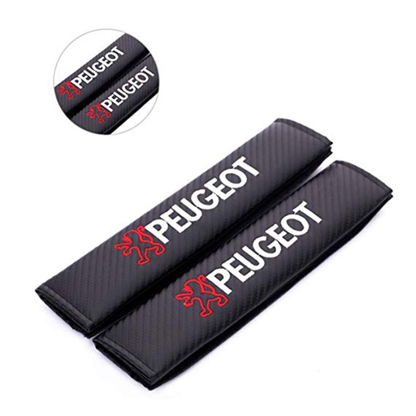 fanlinxin 2 Piezas de Fibra de Carbono + Bordado Funda de cinturó n de Coche Almohadilla de Hombro cojí n para Peugeot