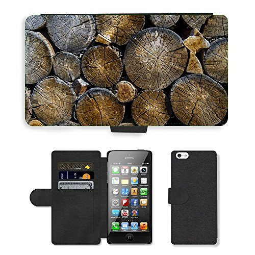 PU Leather Cover Custodia per // M00421557 Journaux Lumber Bois Bois Logging // Apple iPhone 5 5S 5G