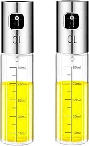 Fasmov 2 Pack Olive Oil Sprayer Misters Bottle 3.4-Ounce Capacity, Glass Bottle Vinegar Mist Spray Dispenser for Air Fryer Cooking BBQ Making Salad
