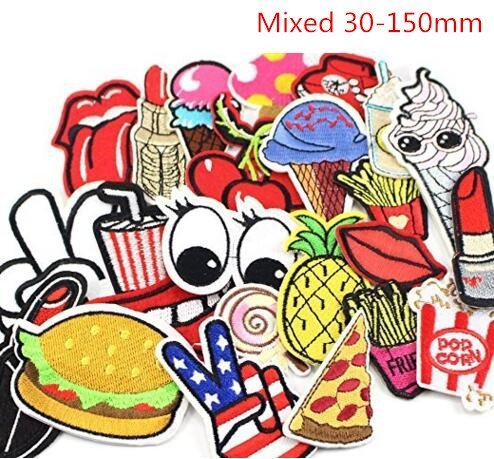 24pcs random assorted Iron-on or Sew-on Embroidered patch Motif Applique (Iron On Embroidered Patches)