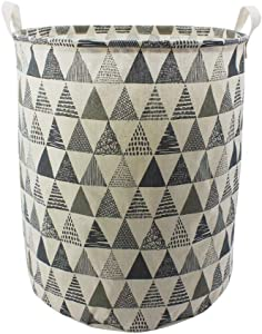 "Mziart 19.7"" Large Geometric Printed Foldable Laundry Hamper Bag Laundry Basket Sorter, Canvas Fabric Storage Basket Bin Home Organizer Containers for Nursery Baby Kids Toys (Grey Triangle)"