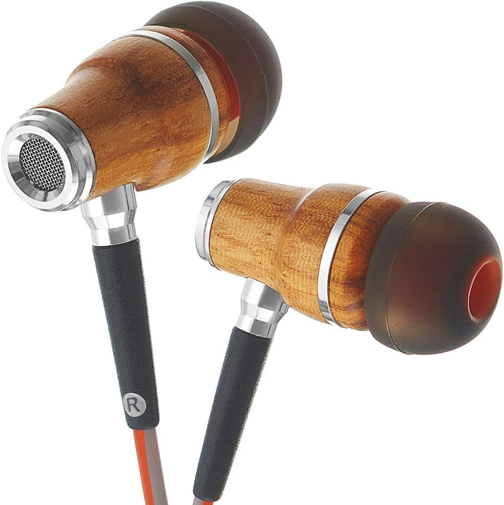 Symphonized NRG 3.0 Wood Earbuds Wired, in Ear Headphones with Microphone for Computer & Laptop, Ear Phones for Android with Stereo Sound (Orange & Gray)