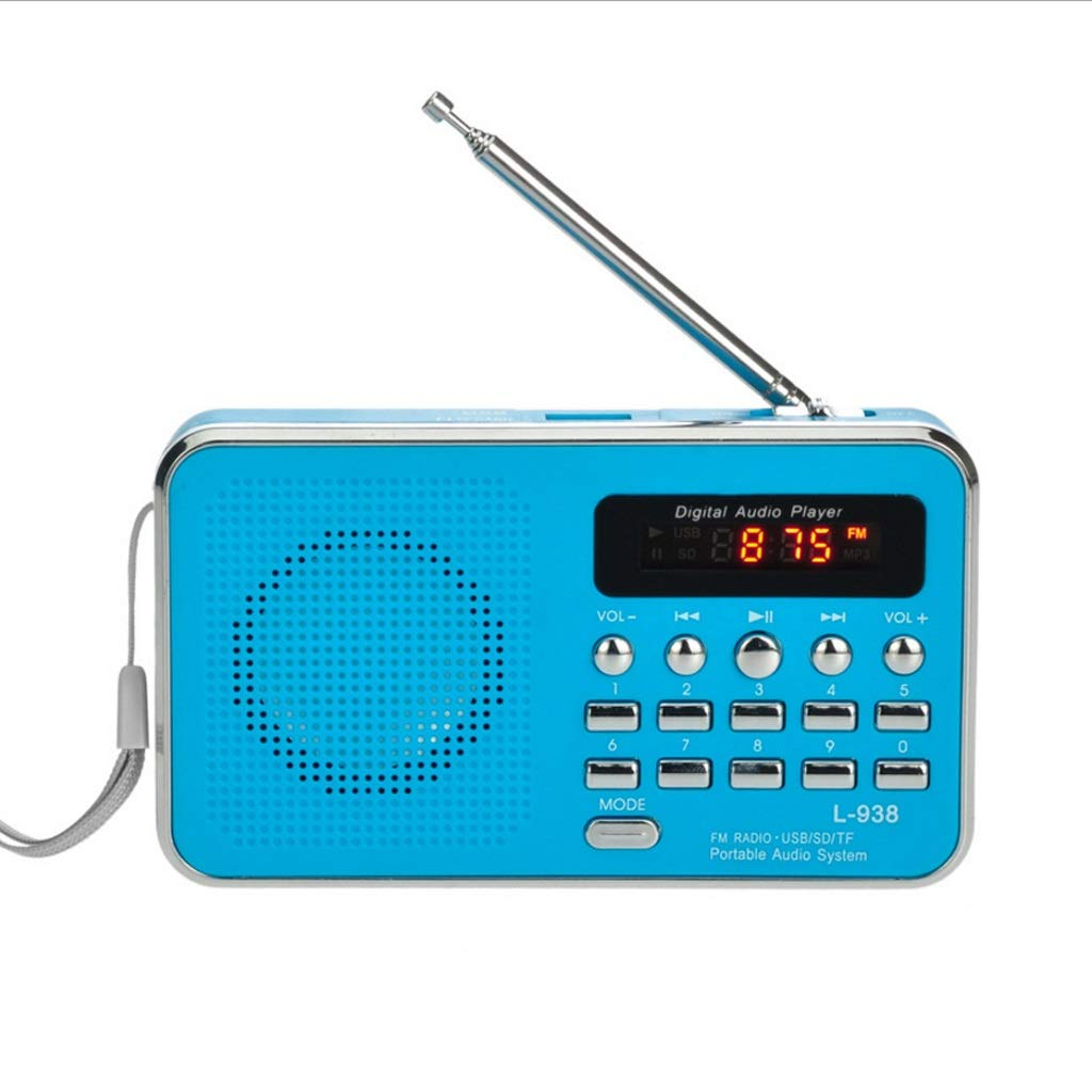 ZWS Radio Portable FM Radio Rechargeable Digital LED MP3 Speaker Player TF SD Card Playing AUX Input Loudspeaker Current Affairs Information (Color : Blue) by ZWS