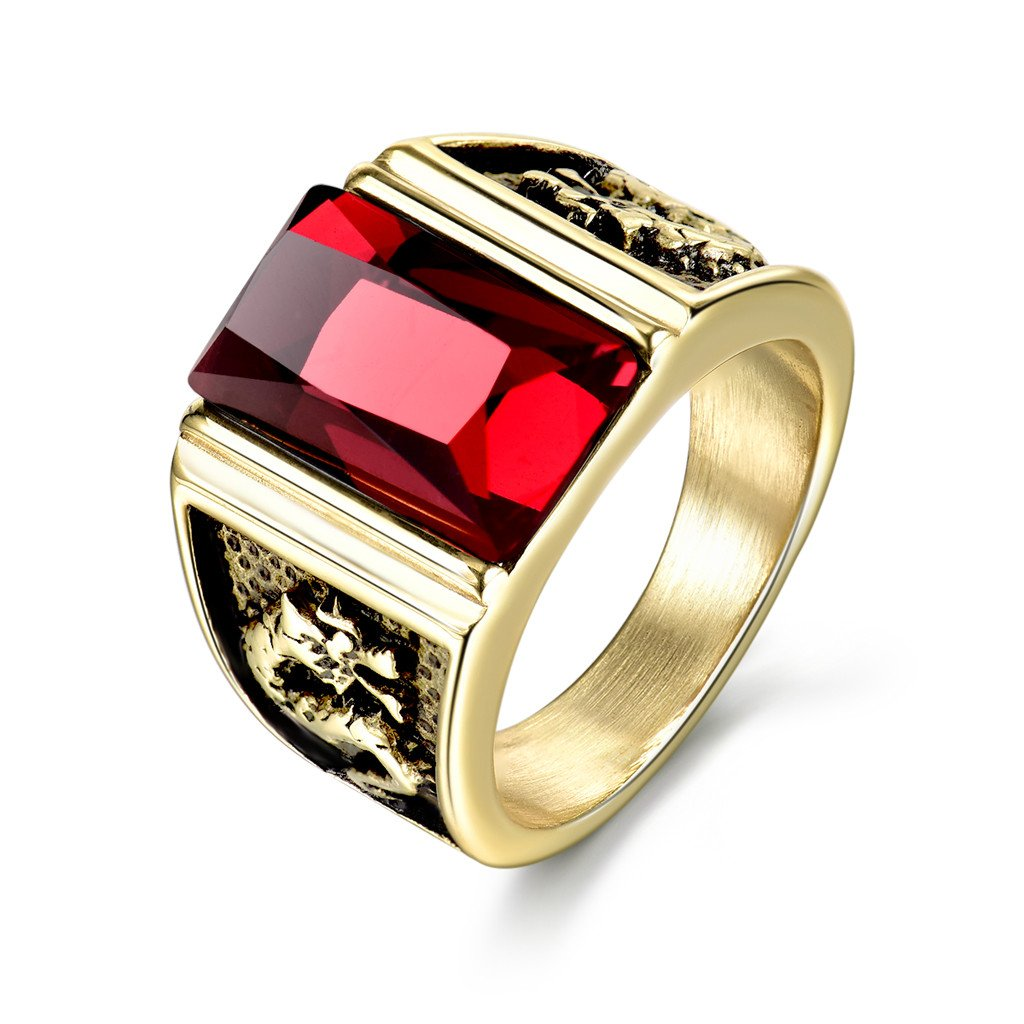 MASOP Mens Stainless Steel Jewelry Rings With Red Stones Engraved Dragon Trendy Male Jewelry Size 11
