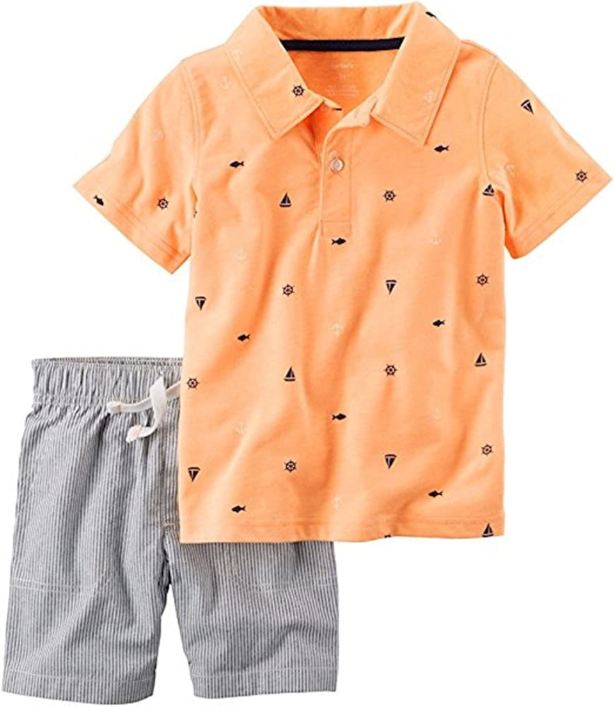 Carters Baby Boys 2-Piece Sailboat Polo and Striped Shorts Set Newborn