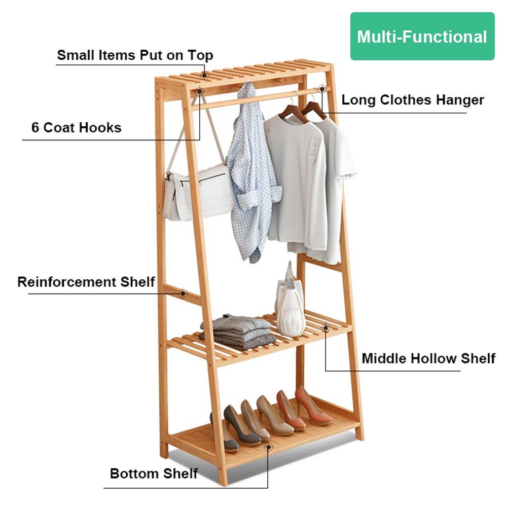 Ufine Garment Rack Bamboo Wood Entryway Coat Rack 3 Tiers Shoe Clothes Storage Shelves 6 Coat Hooks 1 Hanging Bar for Bag Clothing Umbrella Holder Living Room Bedroom Hallway