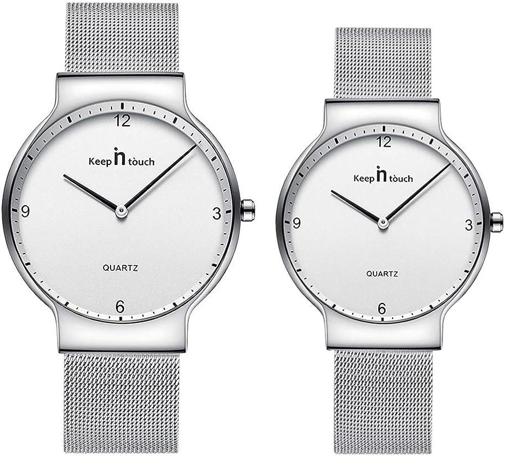 Infinito U-Fashion Reloj Pareja Reloj de Cuarzo Ultrafino para Hombre Mujer Moda Relojes de Pulsera Casual Impermeable de Acero Inoxidable Idea Regalo para Pareja
