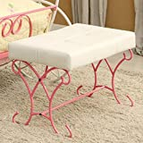 Furniture of America Enchant Pink and White Bench