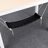 DEMTER Premium Canvas Foot Hammock - Comfortable Feet Hammock Under Desk Footrest Stool, Ergonomic, Adjustable & Portable Foot Rest Hammock Stand for Office and Home, Black