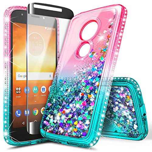 Moto E5 Plus Case, Moto E5 Supra/Motorola Moto E Plus 5th Gen Case w/[Full Cover Tempered Glass Screen Protector], NageBee Glitter Liquid Quicksand Flowing Sparkle Diamond Girls Cute Case -Pink/Aqua