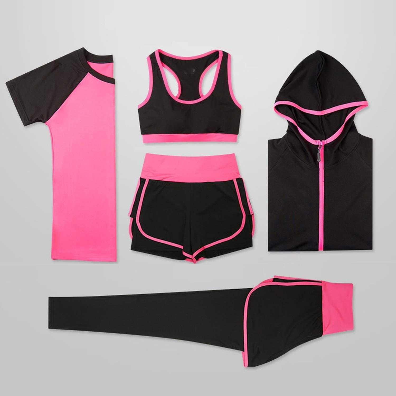 Women 5 Piece Yoga Set for Running T-Shirt Fitness Bra Sports Wear,3pcs Set Green,S