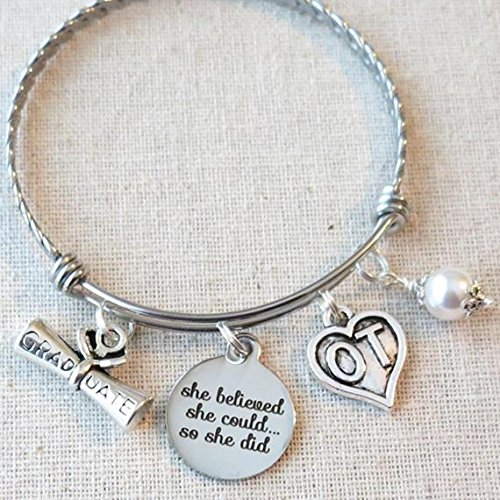 GIFT FOR OT, She Believed She Could So She Did OT Gifts, OT Therapist Graduation Gift, Occupational Therapy Inspirational Graduate Gifts Charm Bracelet