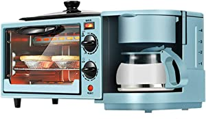 Toaster Family Multifunction Electric Toaster Machine 3 in 1 Stainless Steel Oven Coffee Maker with Kettle Egg Griddle Nonstick Pot 1050W 9L(Green)