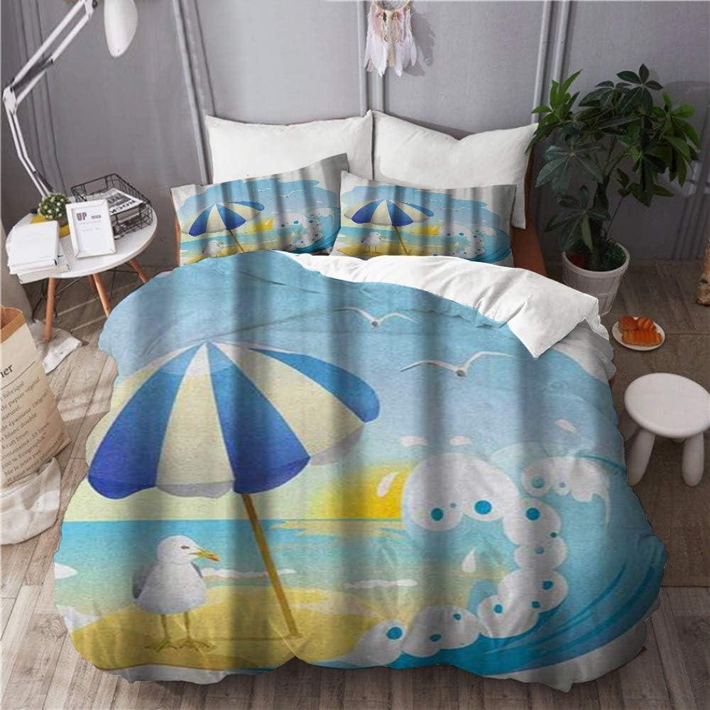 Ropa de cama Funda nórdica Juego de 3 fundas de edredón con 2 fundas de almohada, Gaviota en la playa con olas de sombrilla Sand at Seaside Dibujos animados de Sunny Sky, Cobertor de cama de microfibr