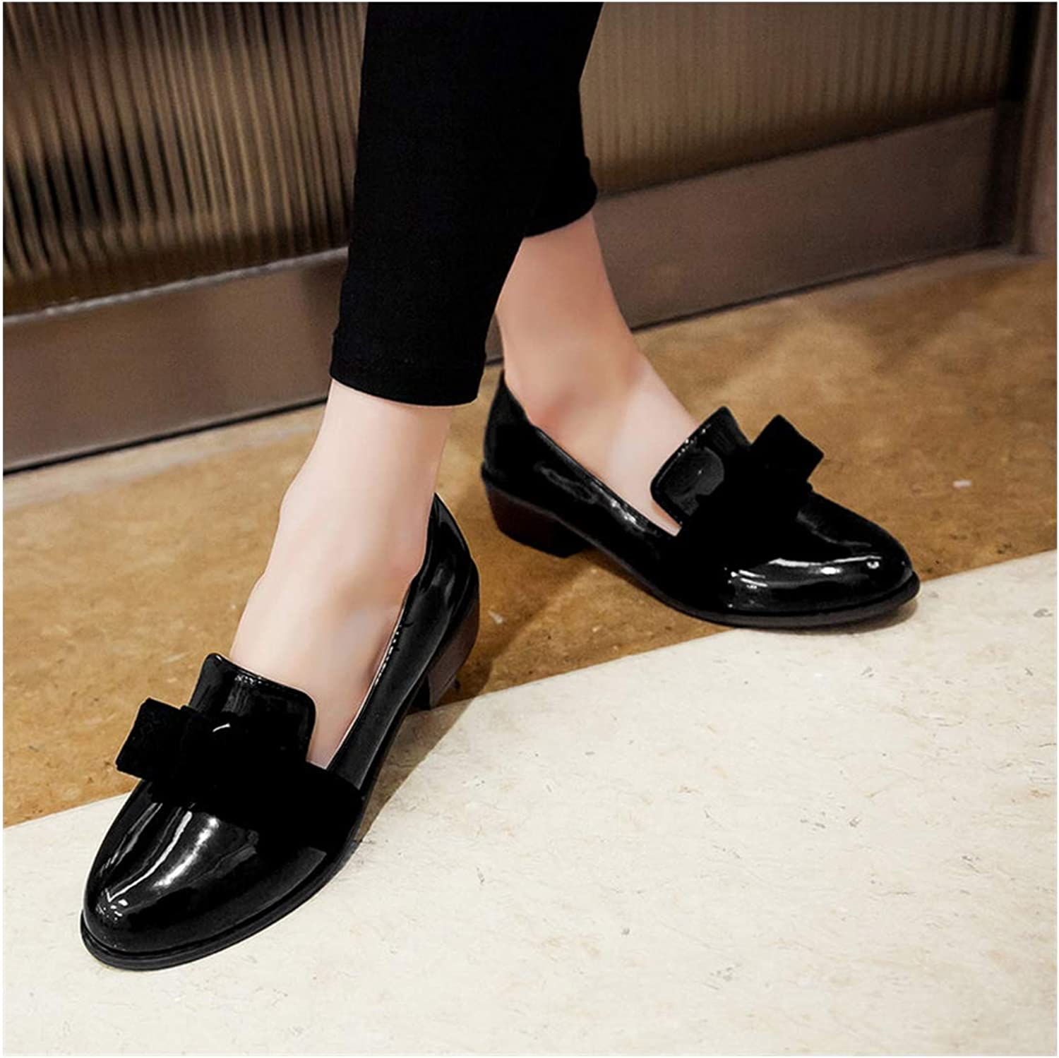 Leather Women Loafers Round Toe Preppy