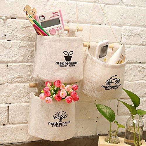 Lumanuby 1/pezzi Storage Bag cotone singola tasca portaoggetti semplice da appendere borsa da parete a parete bag Style D armadio porta panno tessuto Storage
