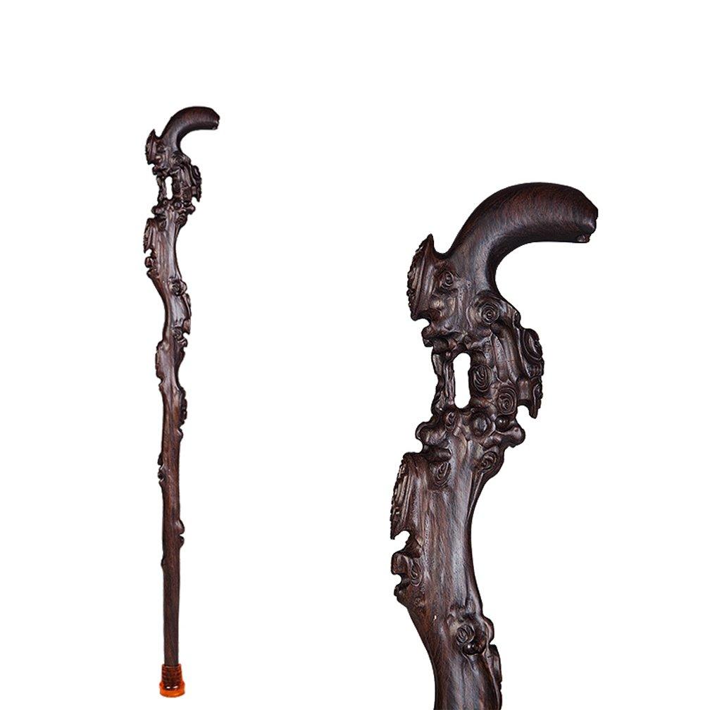 木製の歩行スティックスティック固体木製の古い木製のスティック高品質のエボニーケーンチェリー手彫り、88CM B07D15MFK7 D