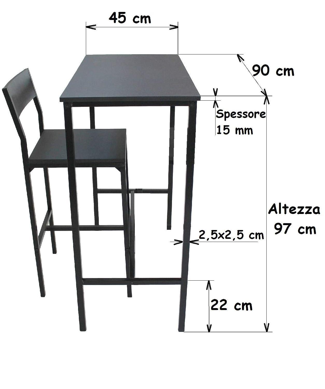 Altezza Tavolo Per Sgabelli.Yelloo Set Tavolo Bar E 2 Sgabelli Arredamento Mobili Cucina H