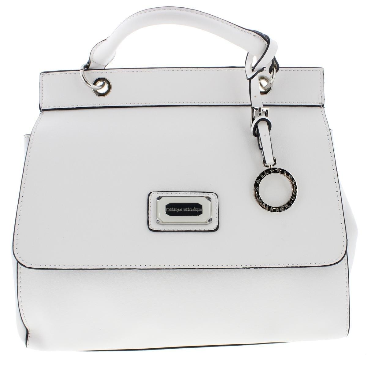 Catherine Malandrino Womens Juliet Faux Leather Shoulder Handbag White Medium
