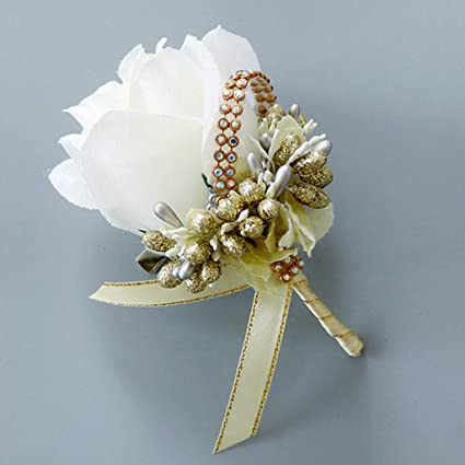 28bf0b310 Amazon.com: cici store 1Pc Wedding Artificial Brooch Bouquet,Glitter  Rhinestone Bride Groom Prom Boutonniere with Pin,White + Gold: Kitchen &  Dining