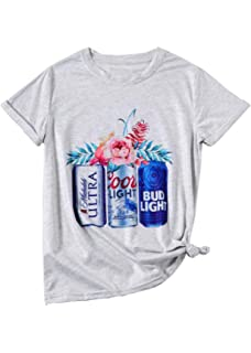 61b522d27375 Women Coors Light Bud Light Drinking T-Shirt Short Sleeve Funny Casual Beer Graphic  Tees