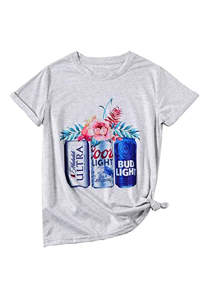 18c30af9e685 Women Coors Light Bud Light Drinking T-Shirt Short Sleeve Funny Casual Beer  Graphic Tees