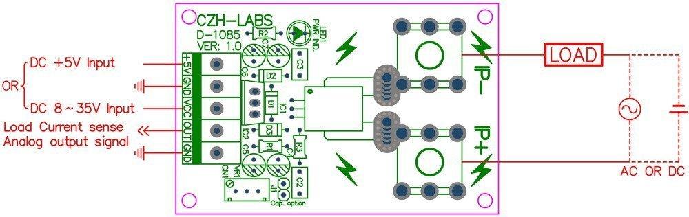 Electronics-Salon Panel Mount //-50Amp AC//DC Current Sensor Module Board based on ACS758