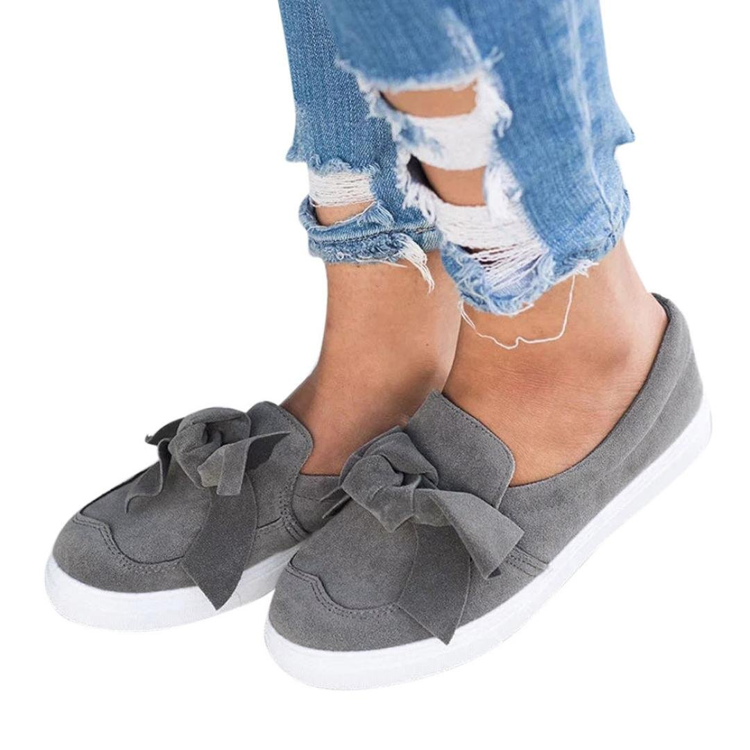 Clearance!Women Casual Shoes,Todaies New Women Hollow Out Shoes Round Toe Platform Flat Heel Slip on Ladies Casual Shoes 2018 (US:8, Gray) by Todaies-Women Boots (Image #1)