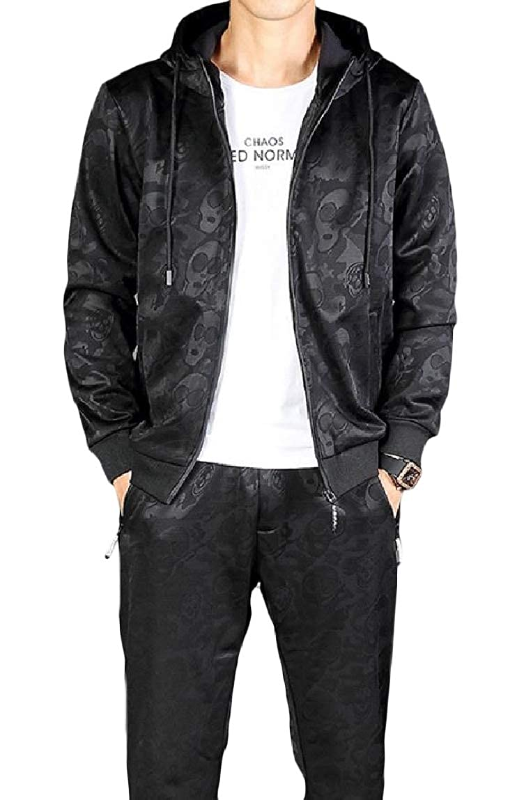 Romantc Mens Camo Lounge Hooded Velvet Pockets Zipper Activewear Set