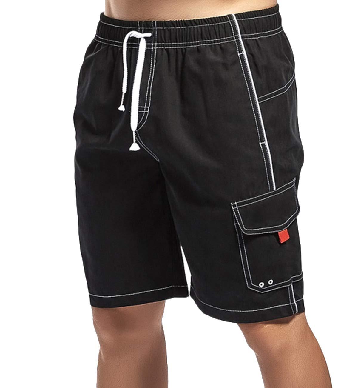 e224b0bd07 Lachi Homme Shorts de Bain Plage Maillot de Bain Natation Bermuda Long Pant  Court de Sport Beach Séchage Rapide Doublure en Maille