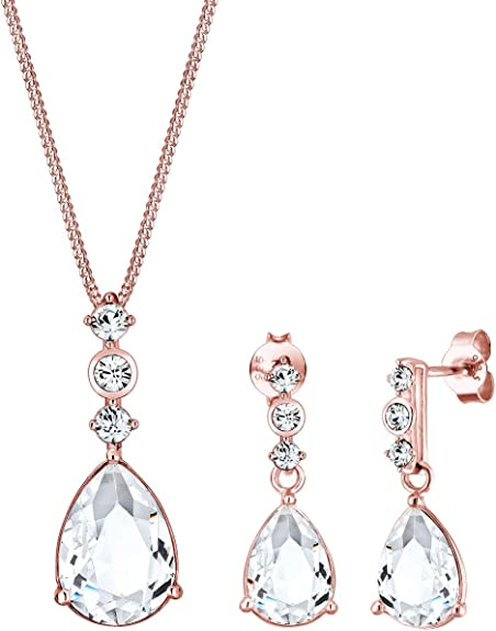 Elli PREMIUM Schmuckset Damen Tropfen Edel mit Swarovski Kristalle in 925 Sterling Silber