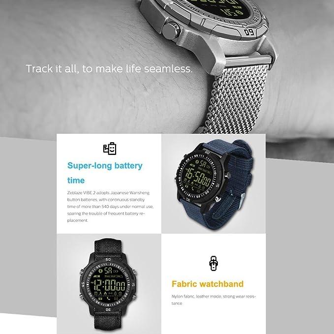 KOBWA New Zeblaze Vibe 2 Smartwatch Deportivo 5ATM Impermeable 540 ...