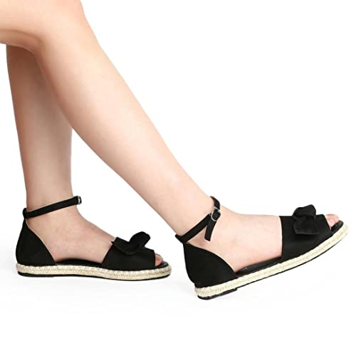 3a7247903416 Fheaven Womens Espadrilles Sandals Sweet Tie up Flat Sandals Peep Toe  Classic Straps Shoes (US