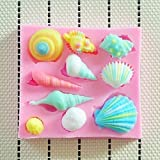 KoKopark® Mold DIY Lovely Shell Ice Ball Baking Mold Silicone Fondant Cake Chocolate Sweet Candy Soap Ice Cube Tray Mould Pink